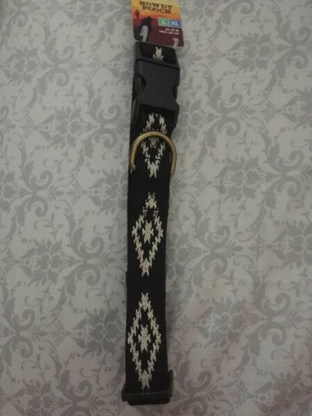 New Howdy Pooch Adjustable Dog Collar LXL BlackWhite Aztec Design