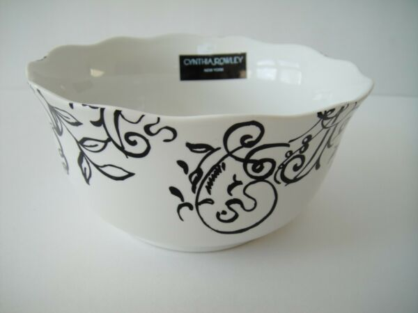 CYNTHIA ROWLEY SCROLL FLORAL SOUP BOWLS WHTBLK S4