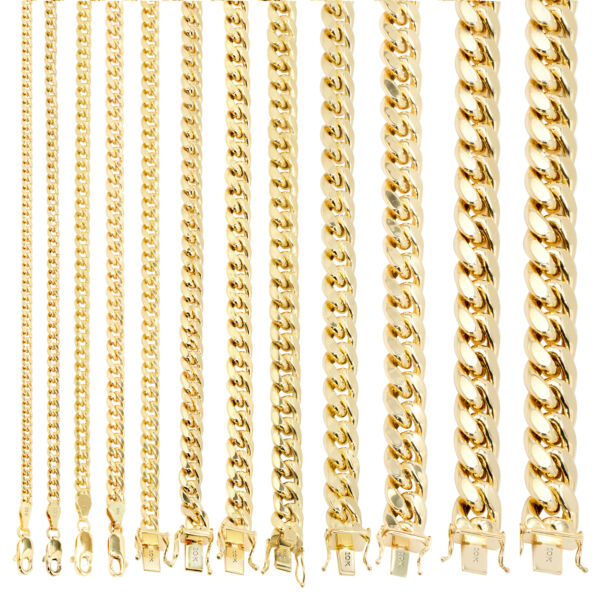 10K Yellow Gold 3.5mm 17mm Real Miami Cuban Link Necklace Chain Bracelet 7quot; 30quot;