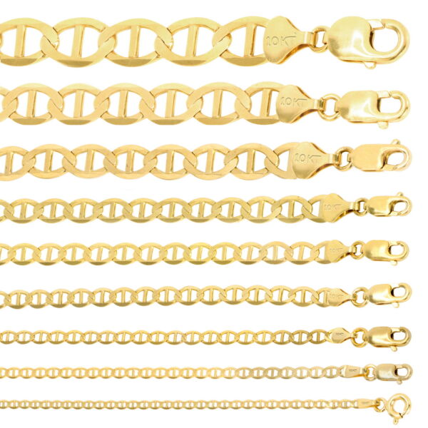 10K Yellow Gold Solid 2mm-10.5mm Mariner Anchor Chain Necklace Bracelet 7