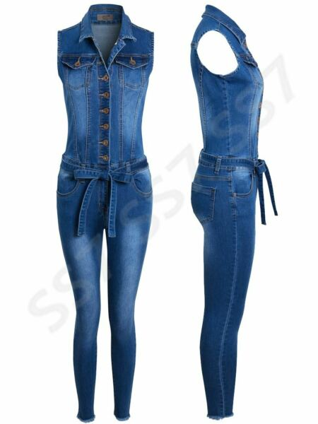 Womens Jumpsuit Denim Stretch Boiler suit Blue Size 10 12 14 8 6 All in One GBP 24.95