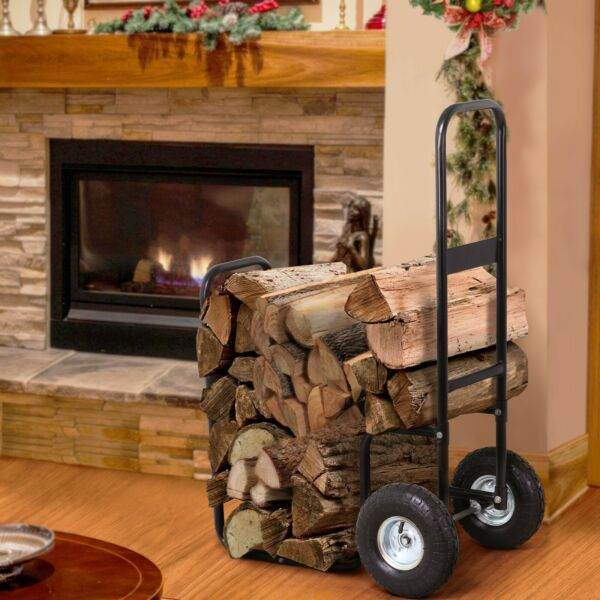 New Metal Firewood Log Cart Trolley Carrier Wood Mover Hauler Rack Rolling Dolly