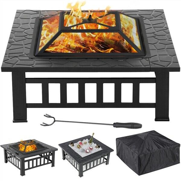 32'' Outdoor Square Fire Pit Fireplace Brazier Stove Heater Garden Patio wCover