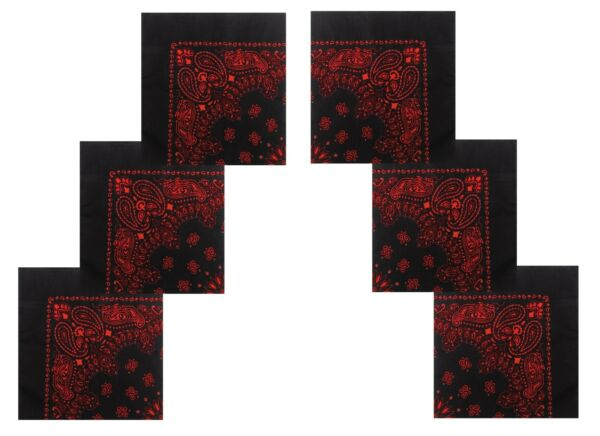 6 PACK Black and Red Bandanas 22
