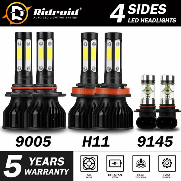 6x 4-sides Combo LED Bulbs for Ford F-150 15-2019 Trunk LED Headlight Fog Lights