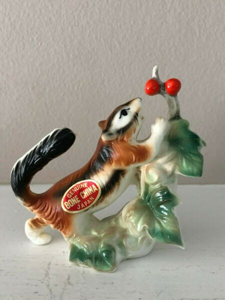 Vintage Bone China Chipmunk Figurine Red Berries Woodland Animal Japan CUTE!