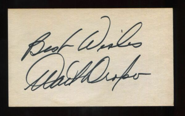 Walt Dropo Autograph Signed 3x5 Index Card Debut 1949 Red Sox D.2010