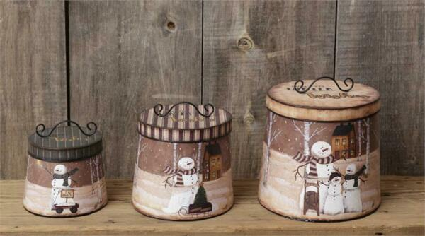 New Primitive Rustic Farmhouse 3 SNOWMAN CANISTER SET Winter Christmas Tins