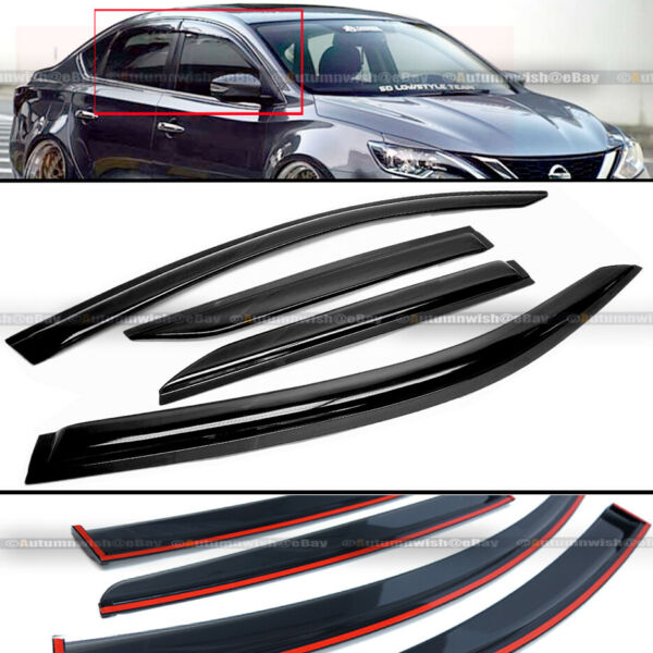 Fit 13-17 Nissan Sentra B17 JDM Style Black Tinted Trim Window Visor Deflector