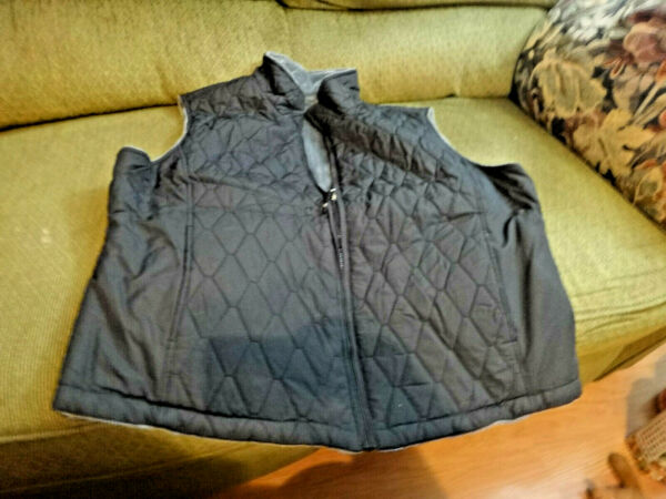XL Free Country Quilted Black WOMENS Grey FAUX FUR LINED COLLAR VEST Reversible $29.99
