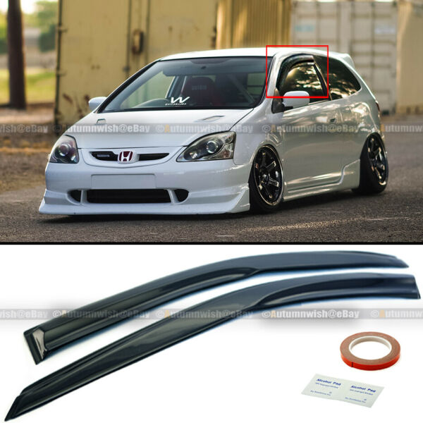 For 02-05 Civic SI Hatchback EP3 Mugen Style 3D Wavy Black Tinted Window Visor