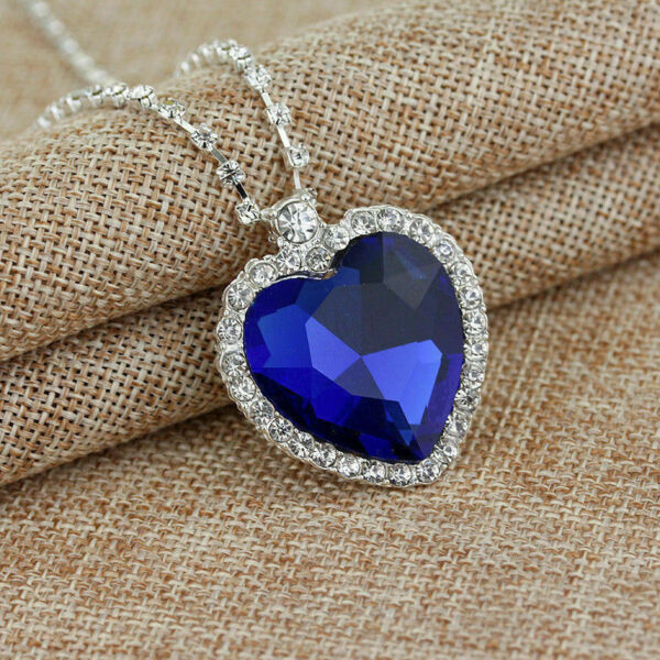 TITANIC Movie Heart of The Ocean Sapphire Blue Crystal Silver Plated Necklace