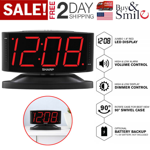 Large Digital Alarm Clock SHARP LED Display Swivel Base Electric Beep Snooze New