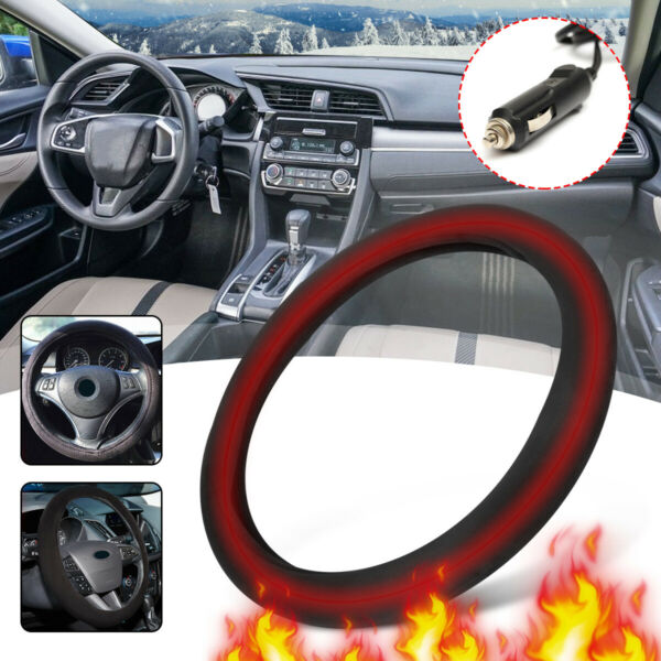 15 inch Heated Steering Wheel Cover Heater Electric Car Lighter Plug Universal