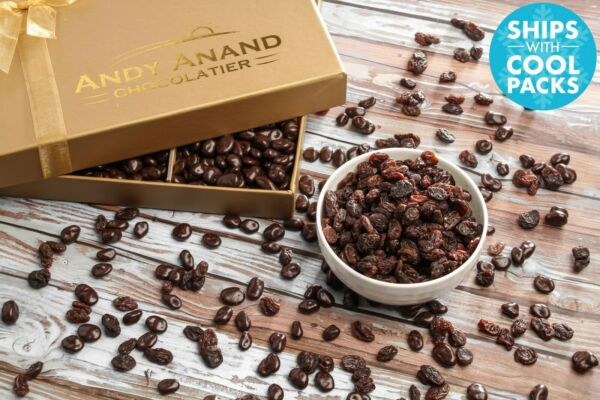 Andy Anand's California Chocolate covered Raisins Box 1 lbs Free Air Shipping $29.84