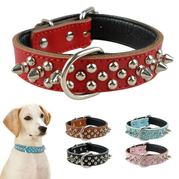 Dog Spiked Collar Leather Collar With D ring for Pitbulls French Bulldog Boxer $11.99