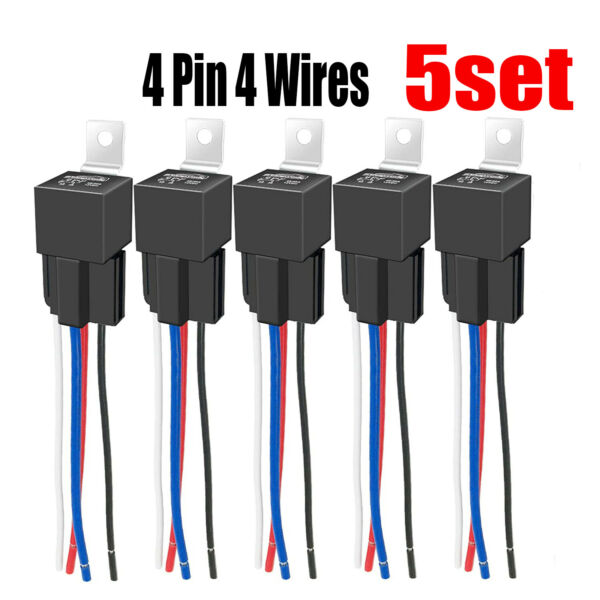 5Pcs DC 12V Car SPDT Automotive Relay 4 Pin 4 Wires w Harness Socket 30 40 Amp