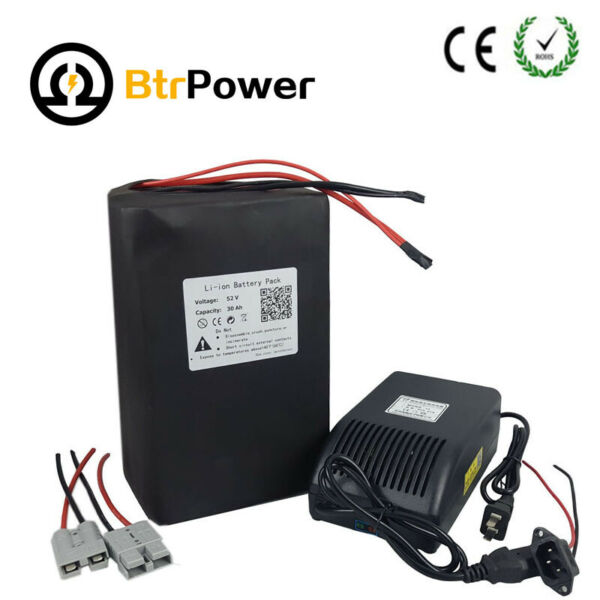 BtrPower 52V30Ah Li-ion Battery Pack Power for Electric EBike Motor 1500W1800W