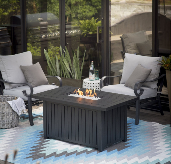 Large Outdoor Fire Pit Table Slate Patio Backyard LP Heater Deck Gas Glass Beads