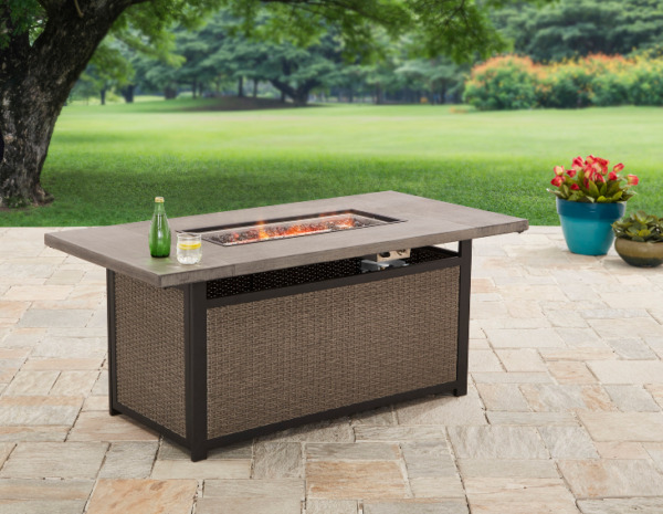 Large Outdoor Fire Pit Table Stone Wicker Patio Backyard Heater Deck Gas Glass