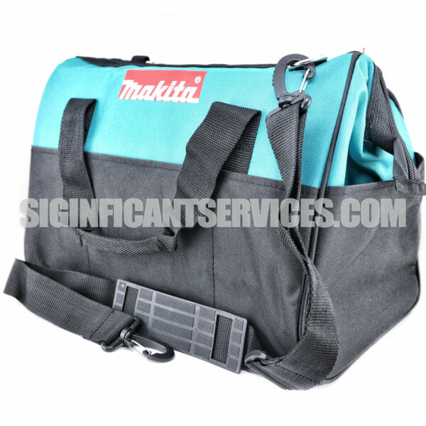 """MAKITA Contractor Tool Bag Storage Case Outside Pockets 14"""" x 11"""" x 9"""" Strap"""