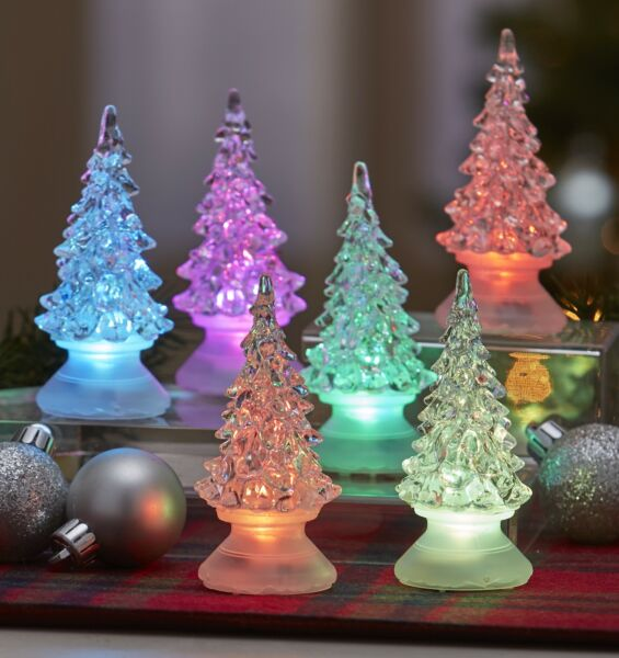 Color Changing Mini Christmas Trees for Tables Mantle - Set of 6