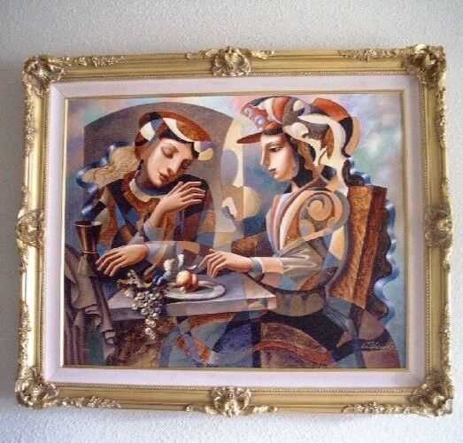 "Oleg Zhivetin ""At the Table"" Framed Embellished Mixed Media 120 AP on Canvas"