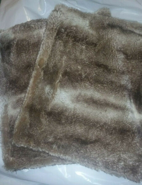 Set of 2 Pottery Barn 21 x18 FAUX FUR Placemats CARAMEL OMBRE NWT