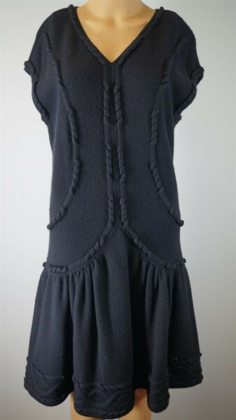 CHANEL Italy Wool Blend Black Sleeveless Knit Dress Size 1042