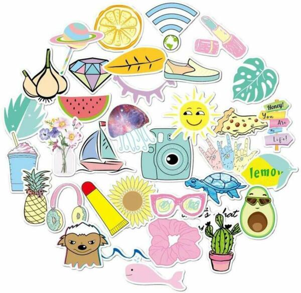 Cute OceanBeach Trendy Laptop Stickers (34 PC) Pack for for Laptop Hydro Flask