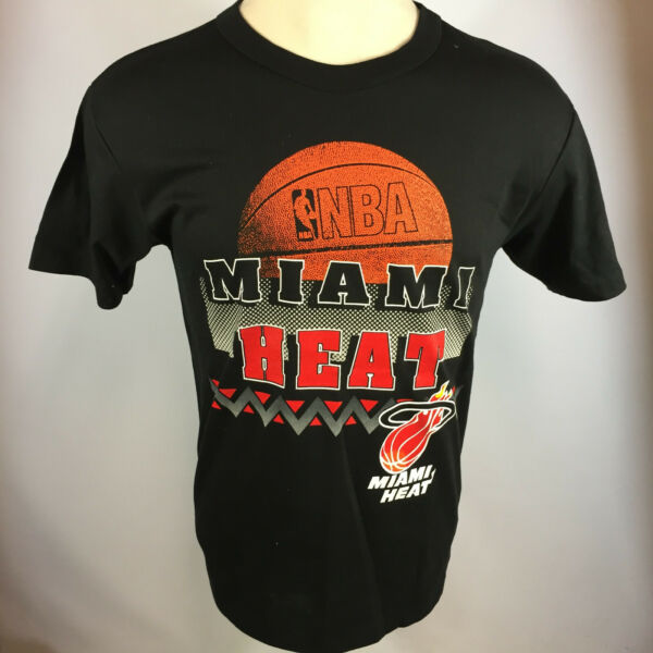 Vintage Minty Miami HEAT 80s 90s Garan NBA Basketball T Shirt Big Logo Tee USA $89.99