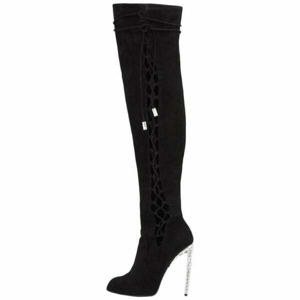 New Giuseppe Zanotti for Jennifer Lopez Crystal Embellished Over-the-Knee Boots