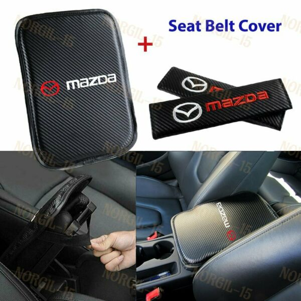 Embroidery Car Center Armrest Cushion Mat Pad w/ Seat Belt Cover Set For MAZDA