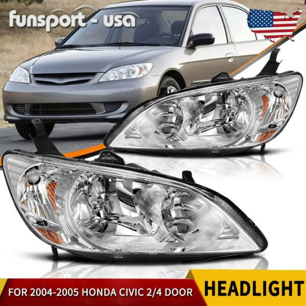 For 2004 2005 Honda Civic 2 4 Door Headlights Chrome Headlamps Pair LeftRight