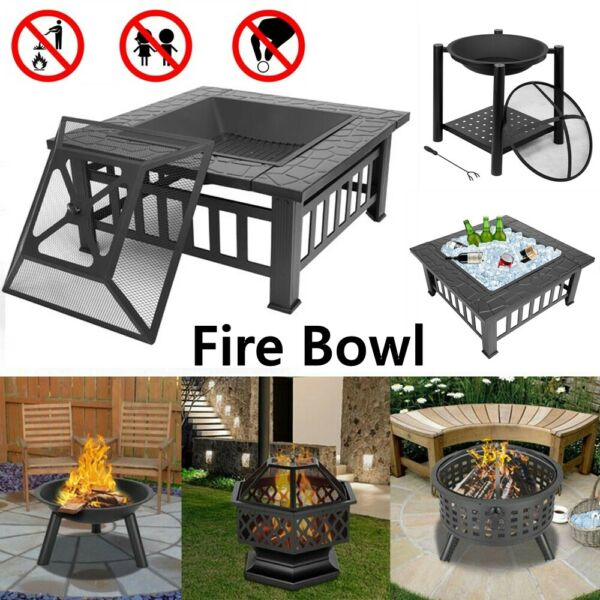 Wood Burning Fire Pit Outdoor Heater Backyard Patio Deck Stove Fi