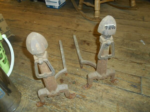 Heavy Duty Cast Iron Fireplace Dogs 1940's With Rings