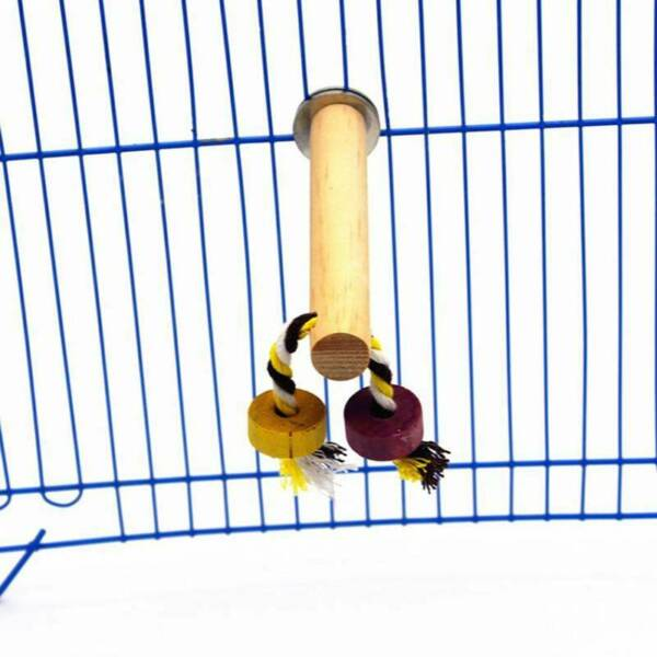 Bird Wood Standing Bar Parrot Toys Perch Chewing Bite Toy Claw Grinding Y
