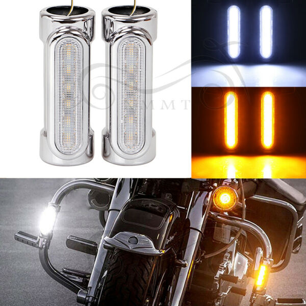 Chrome Motorcycle Highway Switchback Driving Light Crash Bars For Harley Touring
