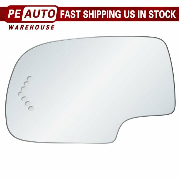 Mirror Glass Full Adhesive For 03-07 GMC Chevy Cadillac Left Driver Side Signal