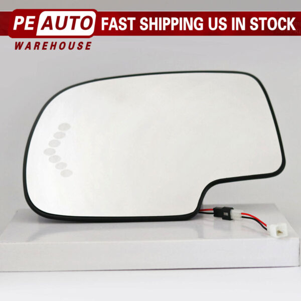 Heated Mirror Glass Turn Signal Driver Side LH for 2003-2007 Cadillac Chevy GMC
