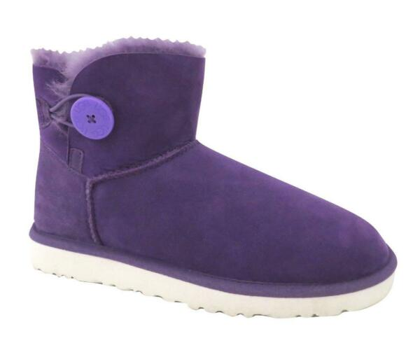 New NIB Ugg Classic Mini Bailey Button Boots Neon Violet Purple RARE White Sole $129.99