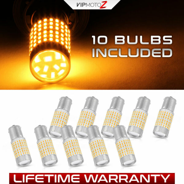 [5 Pairs] 1156 BA15S Amber LED Turn Signal Bulbs Yellow Side Blinker Lights Lamp