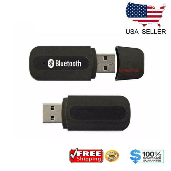 USB Bluetooth Music Stereo Wireless Audio Receiver Adapter 3.5mm Home Car PC AUX $2.98