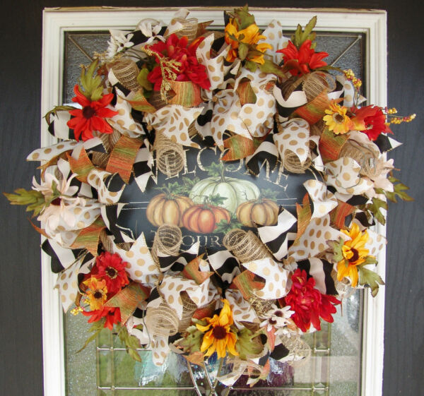 Floral Fall Thanksgiving Deco Mesh Front Door Wreath Welcome to Our Home Decor