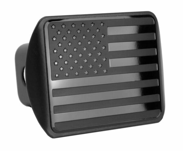 USA Black Flag Metal Trailer Hitch Cover Fits 2quot; Receiver $22.99