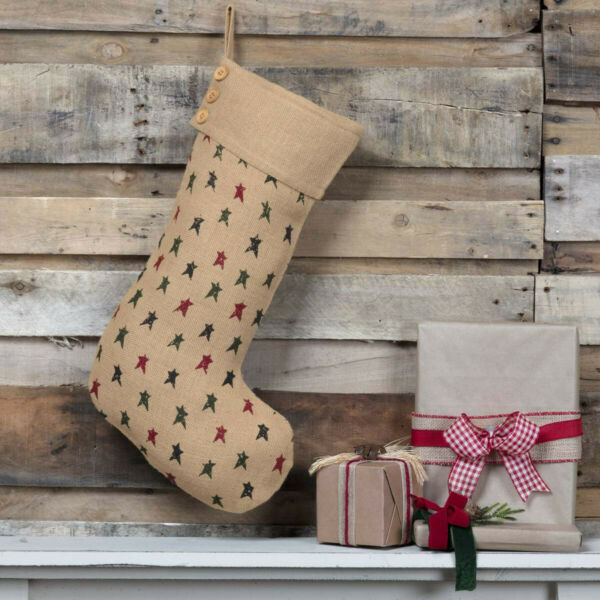 New Primitive Country Rustic Farmhouse GREEN RED BURLAP TREES Christmas Stocking
