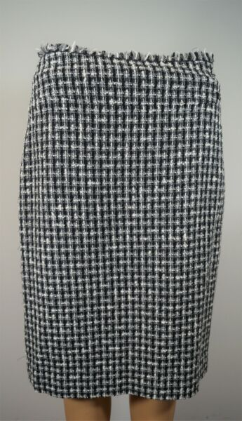 CHANEL 04A Fall 2004 Collection Wool Blend Tweed Fringe Skirt Size 840