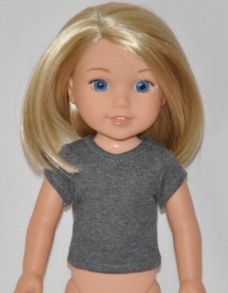Dark Gray T-Shirt Made To Fit American Girl Wellie Wisher Dolls Clothes