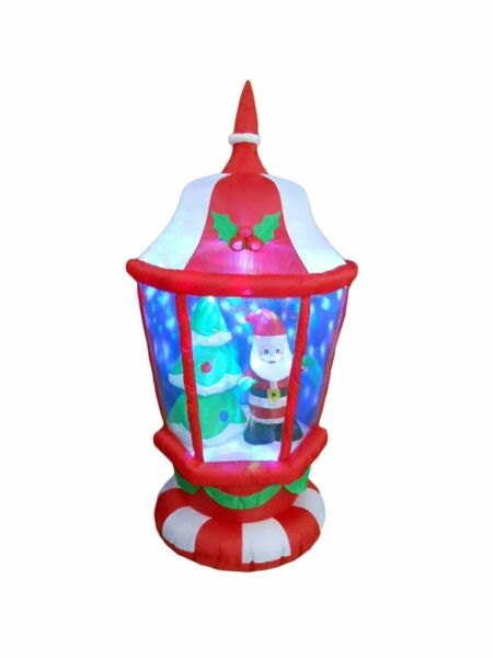 6 Foot Tall Lighted Christmas Inflatable Lantern with Santa and Tree LEDs Yar...