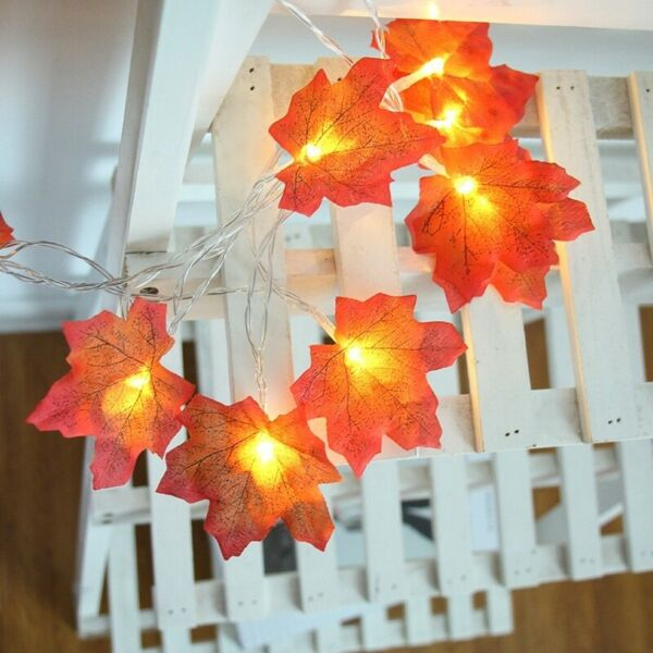 118 IN 20LED Maple Leaves String Lights Garland Decor Flash Lamp Indoor Outdoor